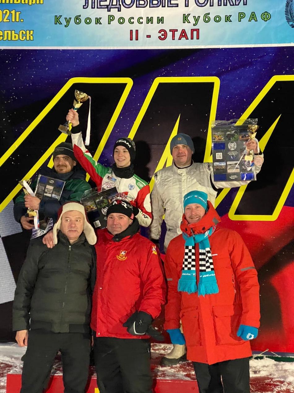 Призеры класса «1600» второго этапа кубка России по ледовым гонкам в Вельске