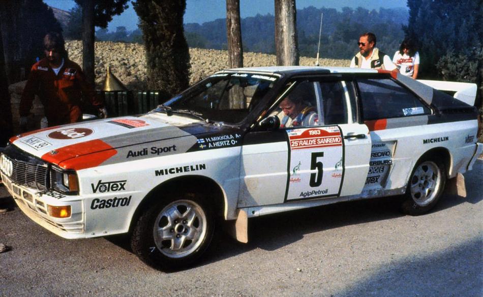 Audi Quattro Ханну Микколы на ралли «Санремо» 1983 года
