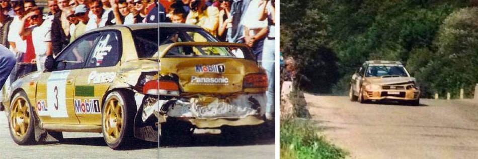 А-групповая Subaru Impreza 555 Сергея Успенского после аварии