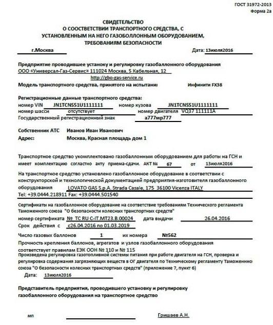 Свидетельство о соответствии ТС с ГБО требованиям безопасности